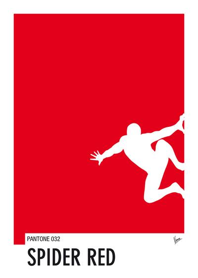 My Superhero 04 SpiderRed Minimal Pantone poster