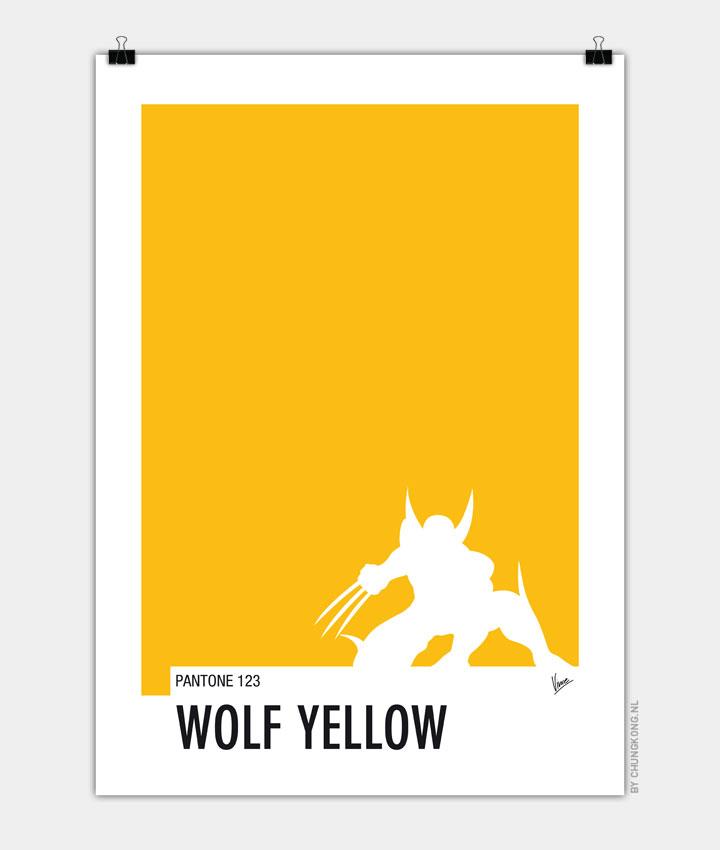 My Superhero 05 Wolf Yellow Minimal Pantone poster 720px