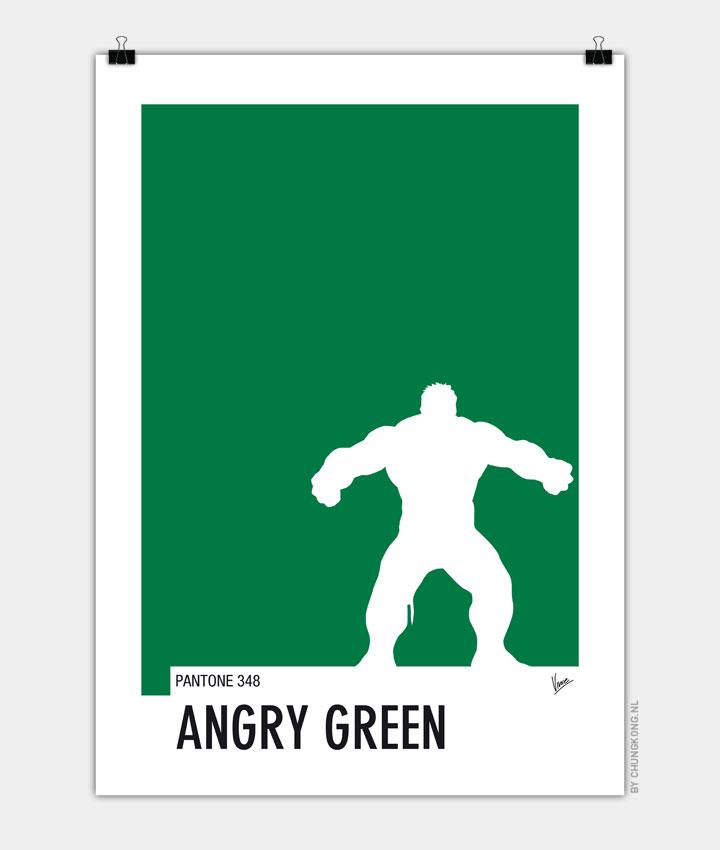 My Superhero 01 Angry Green Minimal Pantone poster 720px
