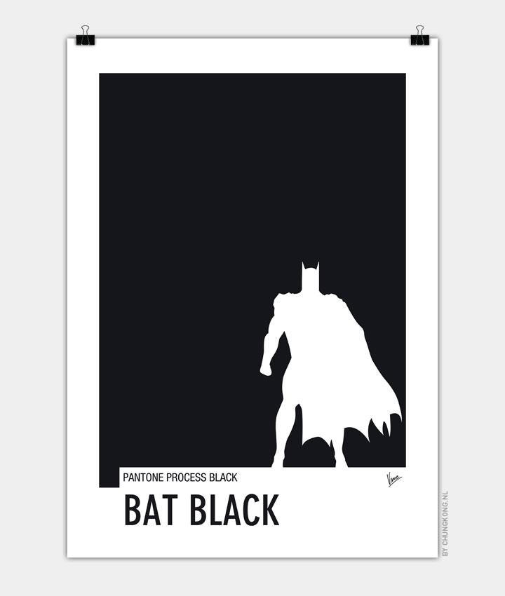 My Superhero 02 Bat Black Minimal Pantone poster 720px