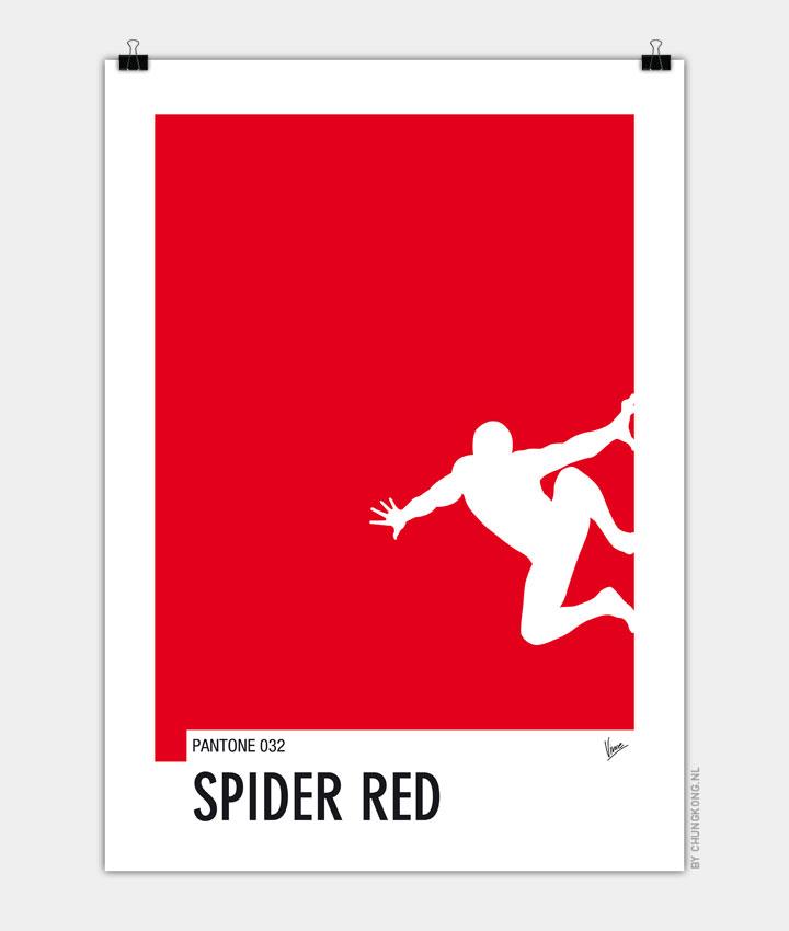 My Superhero 04 Spider Red Minimal Pantone poster 720px