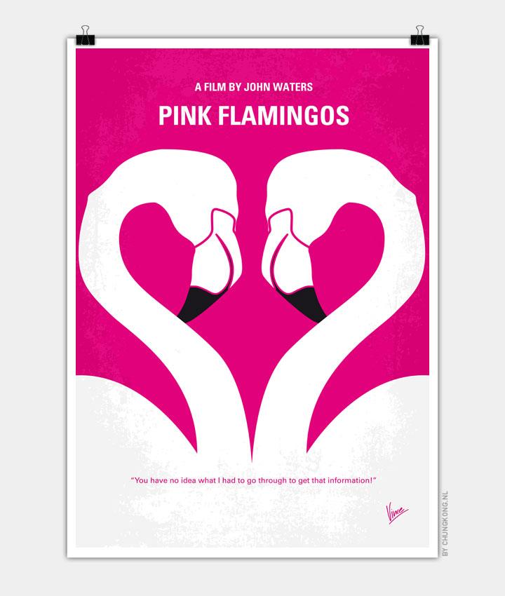 No142 My PINK FLAMINGOS minimal movie poster 720px