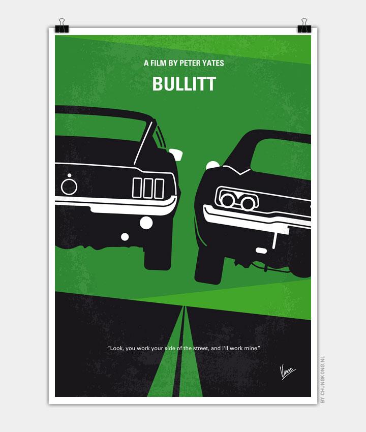 No214 My BULLITT minimal movie poster 720px
